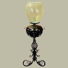 Tall Iron Converted Oil Lamp w/ Swirl Shade