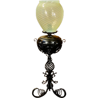 Tall Iron Converted Oil Lamp w/ Swirl Shade
