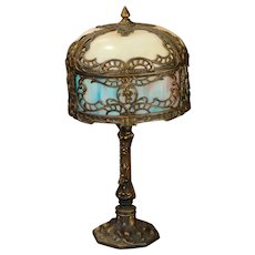 Ornate Double Panel Slag Glass Telephone Lamp