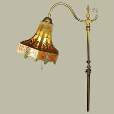Brass Bridge Floor Lamp w/ Cut Brass Mica Lined Shade