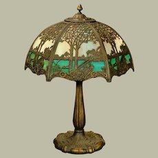 Signed 12 Panel Slag Glass Scenic Lamp