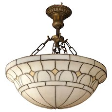 Large Leaded Slag Glass Hanging Lamp