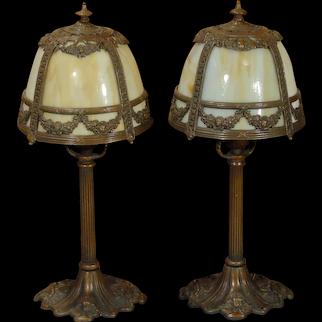 Pair Slag Glass Boudoir/ Mantle Lamps
