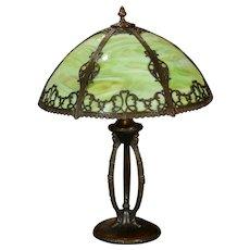 Three Legged Slag Glass Panel Lamp