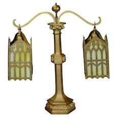 Bronze Gothic Double Shade Slag Glass Library Lamp