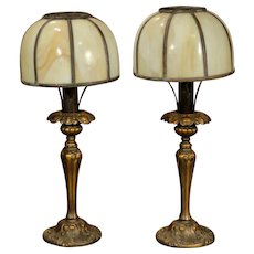 Tall Elegant Pair of Mantle, Credenza Slag Glass Lamps
