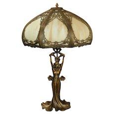 Gorgeous Art Nouveau Figural Slag Glass Lamp