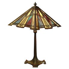Large Bradley & Hubbard Murano Slag Glass Arts & Crafts Lamp