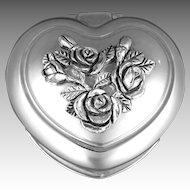 Vintage Heart Trinket Jewelry Box Silver Plate Raised Roses Buds & Leaves Red Velvet Interior