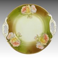 Cabbage Rose Porcelain Platter With Gilded Edge & Handles circa 1904-1924 Schwarzburg Germany