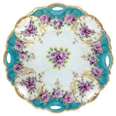 Asian Porcelain Bowl  With Violets & Gold On Blue 10""