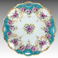 Porcelain Bowl Violets With Gold Trim Asian Mark