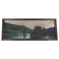 Wallace Nutting Early Hand Colored Photograph 1907 Panoramic Landscape Signed Framed