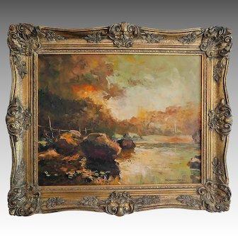 Original Framed Oil Painting Fall Landscape Signed H. Kumel