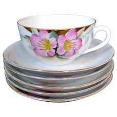 5 Noritake Azalea Coffee Cups & Saucers Red Mark 19322 Large Size Cups