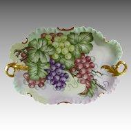 Antique Rosenthal Monbijou Platter Gilt Handles  Hand Painted Grapes & Vines