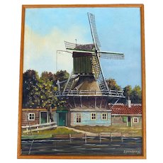Windmill Landscape Oil On Canvas by Dutch Listed Artist George Brocken (1917-1994)