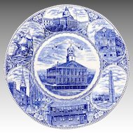 Blue & White Souvenir Plate The Boston Plate Old Staffordshire Ware JonRoth