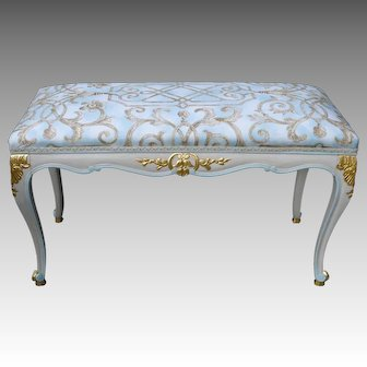 Gilded Painted Stool Louis XVI Hollywood Regency Style Bench