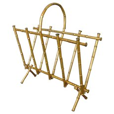 Mid Century Modern Magazine Rack Gilded Faux Metal Bamboo Hollywood Regency