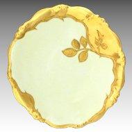 Antique Limoges Plate Heavy Gilt Trim Yellow Background Elite Bawo & Dotter