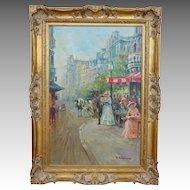 J. Deveau Listed Artist French Impressionist Paris Street Scene Large Oil on Canvas