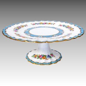 Crown Staffordshire Lyric Tunis Blue Pedestal Plate Plate