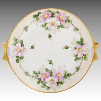 Cherry Blossom Platter With Gilded Handles Hand Painted Artist Signed Hutchenreuther Bavaria