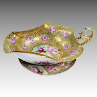 Nippon Hand Painted Roses Gilded Moriage Gravy Boat & Under Plate With Blue Dots