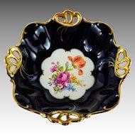 Jlmenau Graf von Henneberg Echt Kobalt Blue Vintage Footed Bowl Heavy Gilt Decor