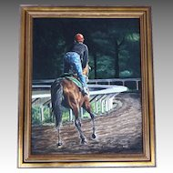 Original Oil Painting Renowned Listed Artist Anne Wolff Horse Racetrack Workout