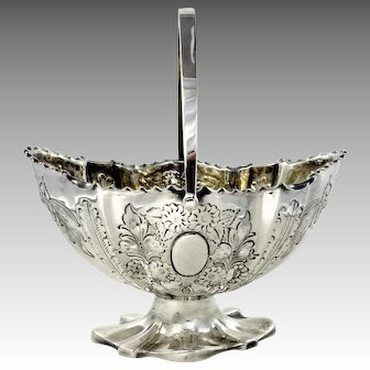 1880s Sheffield Silver Plate Repousse Decorated Basket by  Lee & Wigfull