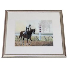 Race Track Horse & Jockey Pastel by Listed Artist Anne Wolff Renowned Animal