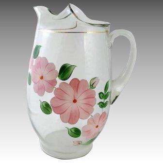 Dunbar Glass Ice Tea Pitcher 1950s Hand Painted Dogwood Flowers
