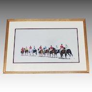 "Race Track Jockeys  Pastel ""Post Parade"" Listed Artist Anne Wolfe Renowned Animal Artist"