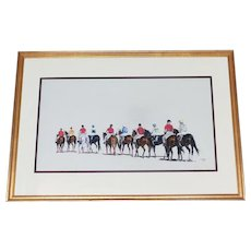 "Race Track Jockeys  Pastel ""Post Parade"" Listed Artist Anne Wolfe Renowned Animal Artist"