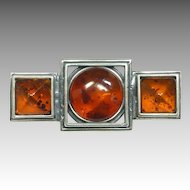 Modernist Silver Amber Pin Authentic Baltic Amber Set in Sterling