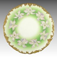 Antique Limoges Plate Orchids Hand Painted Heavy Gold Trim T & V Limoges