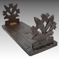 Antique Black Forrest Hand Carved Adjustable Book Rack Shelf 19th c.