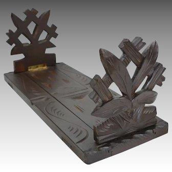 Black Forrest Hand Carved Adjustable Book Rack Shelf 19th c.