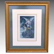 """The Guardian Angel""  by Bernhard Plockhorst Antique Photogravure  Gebbie & Husson"