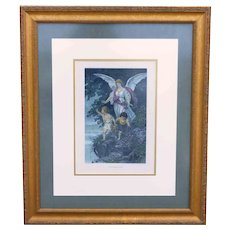 """The Guardian Angel""  by Bernhard Plockhorst Antique Photogravure  Gebbie & Husson"