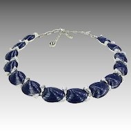 Vintage Trifari Necklace Crown Trifari Navy Blue & Silver  Clam Shell & Coral  Necklace