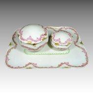 Antique Limoges Vanity Set Dainty Pink Roses  D & C Delinieres  Vanity Tray & Jars