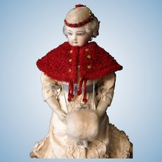 Cranberry Red Curly Cape for French Fashion Doll