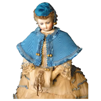 Peacock Blue Silk Moire Cape for French Fashion Doll