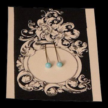 Vintage Blue Glass Doll Earrings