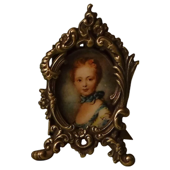 Vintage Petite Metal Picture Frame for Fashion Doll