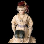 Blue and Brown Faux Fur Doll Muff