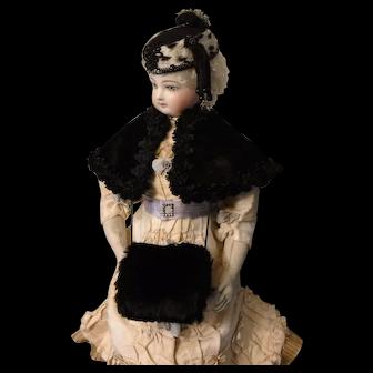 Black Fur Muff for French Fashion Doll